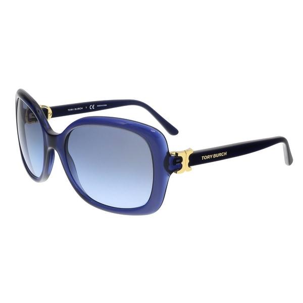 9190533f0117 Tory Burch TY7101 15658F Navy Translucent Square Sunglasses - 57-19-135