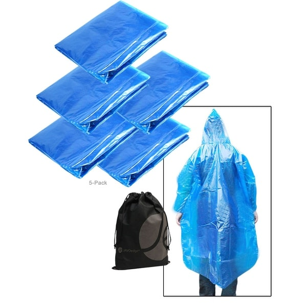 JAVOedge Blue Button Up Poncho, Light Weight, Single Use