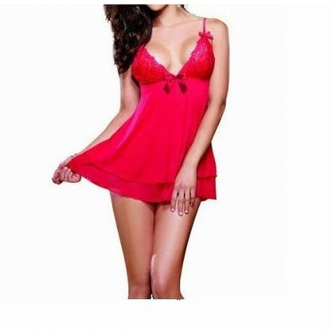 Dreamgirl Womens Sleepwear Red Size XL My True Beauty 2pc Babydoll