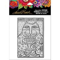 Stampendous Laurel Burch Cling Stamp-Happy Birthday Cat