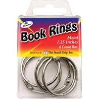 "Silver - Book Rings 1.25"" 6/Pkg"