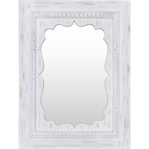 "Azra White Washed Framed 30"" x 40"" Hand Finished Wall Mirror - 30"" x 40"""