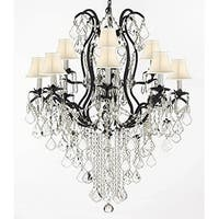 Wrought Iron Crystal Chandelier Lighting H40 x W28 With Shades Trimmed With Swarovski Elements Crystal Trimme