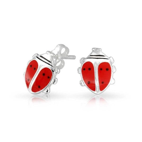 Bling Jewelry Strawberry Summer Fruit Enamel Kids Stud earrings 925 Sterling Silver 9mm 6BWhFNX5d