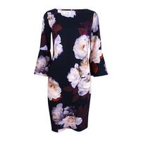 Calvin Klein Women's Floral-Print Bell-Sleeve Sheath Dress - persimmon multi