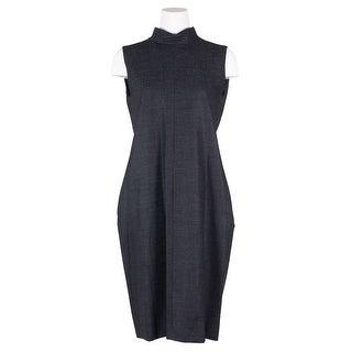 Maison Margiela Womens Black Wool Sleeveless Pleated Dress