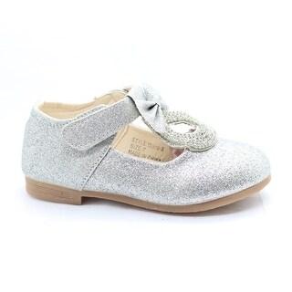 Little Girls Silver Glitter Rhinestone Bow Adorned Dress Shoes