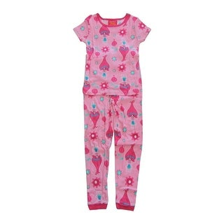DreamWorks Girls Pink Poppy Print Short Sleeve 2 Pcs Pajama Set