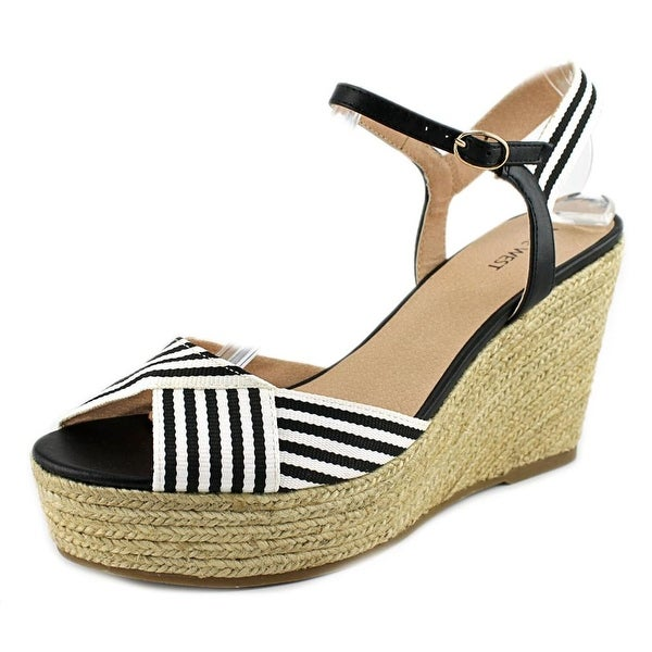 Nine West Breeze Women  Open Toe Canvas Black Wedge Sandal