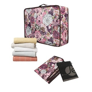 JAVOedge Pink Blossom Print Rectangle Under the Bed Storage with Zipper and Handle, for Organizing - pink blossom