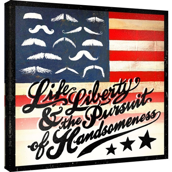 """PTM Images 9-100042 PTM Canvas Collection 12"""" x 12"""" - """"Pursuit of Handsomeness"""" Giclee Mustache American Flag Art Print on"""