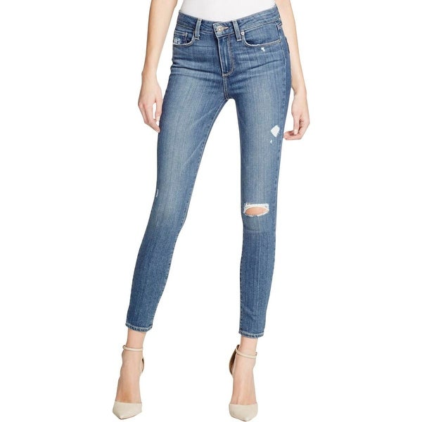 Paige Womens Skinny Jeans Denim Destroyed