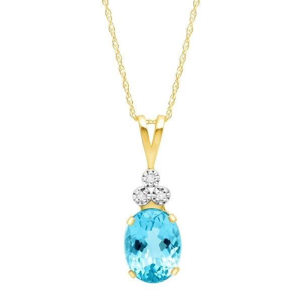 2 1/8 ct Natural Swiss Blue Topaz Pendant with Diamonds in 10K Gold