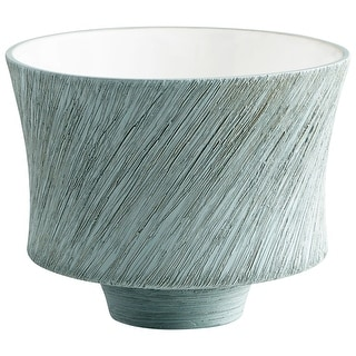 "Cyan Design 08736  Selena 7-1/2"" Diameter Ceramic Planter - Oyster Blue"