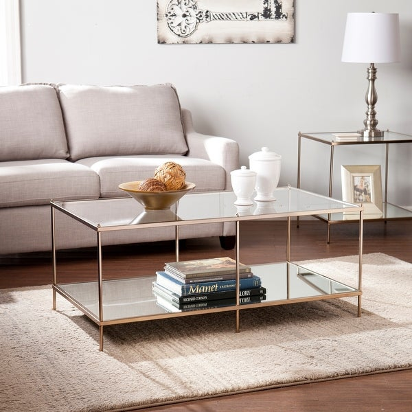 Silver Orchid Grant Goldtone Glass Top Coffee Table. Opens flyout.
