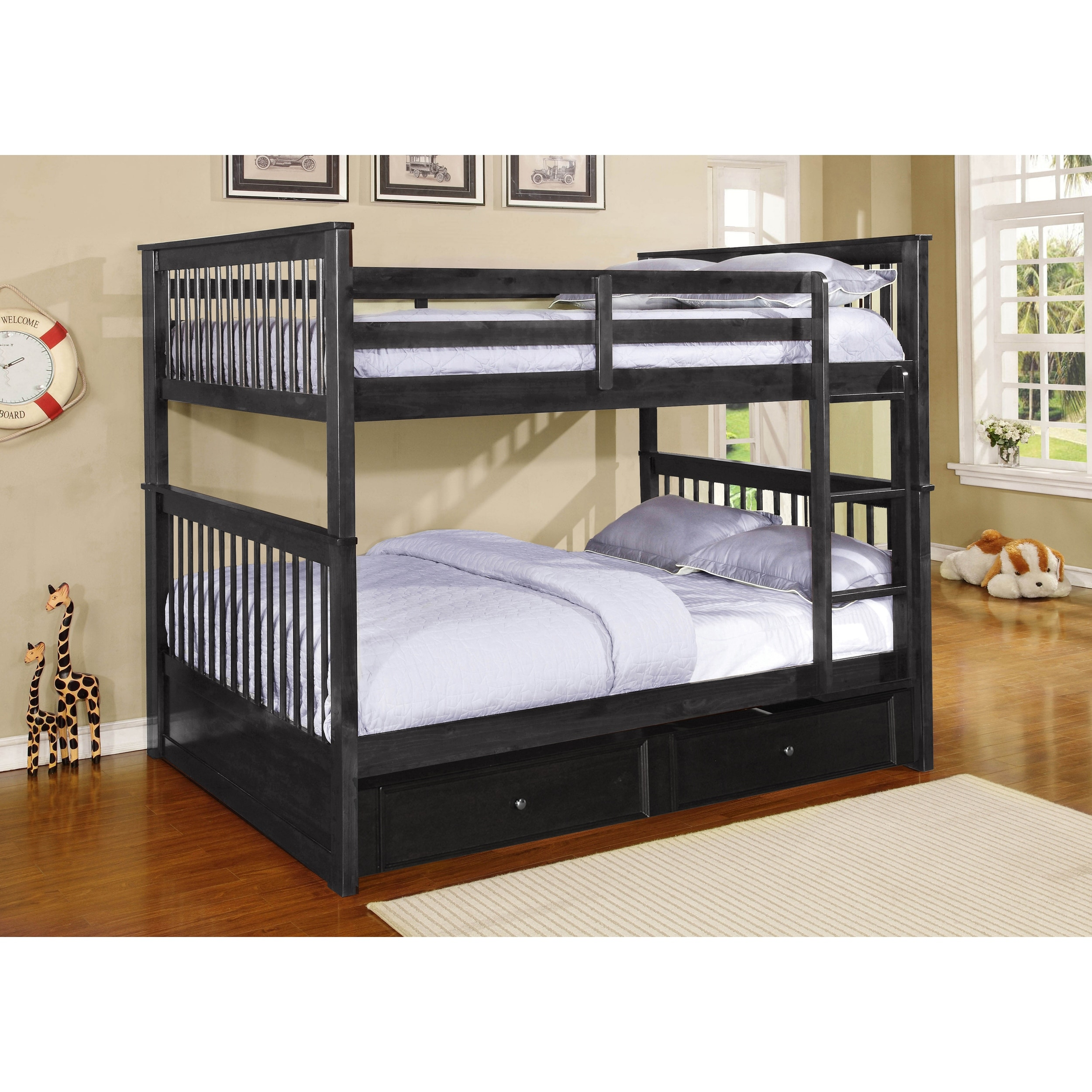 Image of: Shop Black Friday Deals On Paloma Convertible Full Over Full Bunk Bed Optional Trundle Storage Overstock 11511481