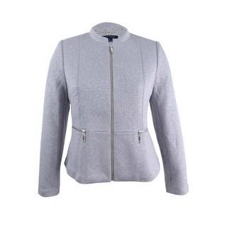 Tommy Hilfiger Women's Mock-Neck Zip Jacket - Heather Grey