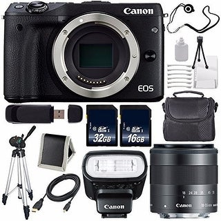 Canon EOS M3 Mark III 24.2 Mp Mirrorless Camera (International Model) Black + f/2 STM Lens Saver Bundle