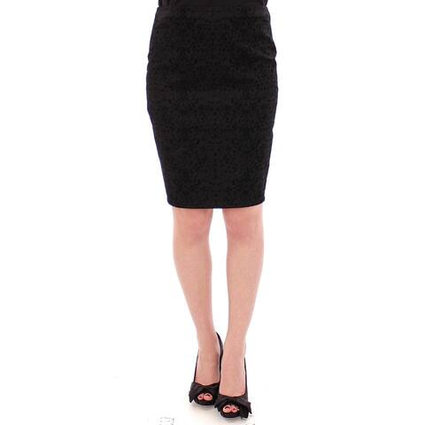 Armani Black Stretch Straight Pencil Women's Skirt - S