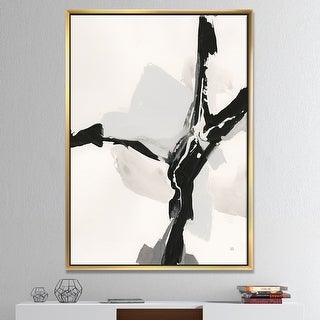 Designart 'Abstract Neutral III' Mid-Century Modern Framed Canvas - Black