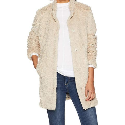 Kenneth Cole Womens Jacket Beige Size Small S Faux-Fur Button-Front