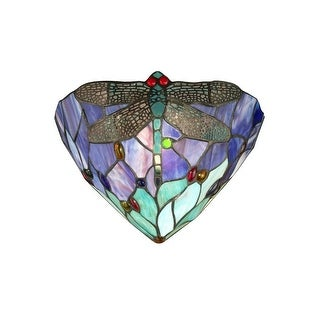 """12.25"""" Purple and Blue Tiffany-Style Dragonfly Jewel Hand Crafted Glass Wall Sconce"""