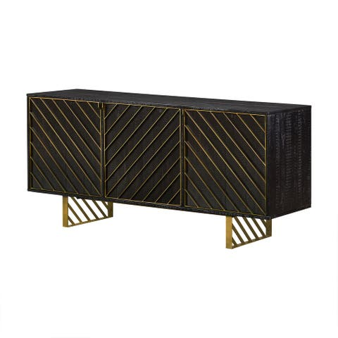 Wooden Sideboard with Six Shelves and Metal Accents, Gold and Black