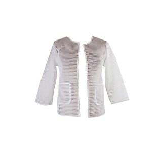 Alfani White Open-Front Mesh Jacket S