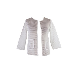 Alfani White Open-Front Mesh Jacket  XS