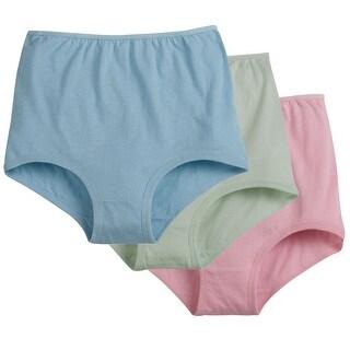 Women's 100% Cotton Cuff Leg Brief - 6 Pairs - Assorted Pastels