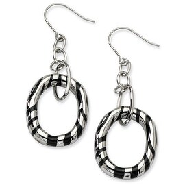 Chisel Stainless Steel Black Resin Striped Oval Dangle Earrings