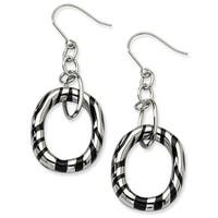 Chisel Stainless Steel Black Resin Striped Oval Dangle Earrings