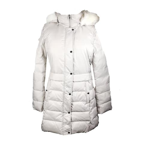 Bar Iii Neutral Faux-Fur-Trimmed Hooded Quilted Coat L
