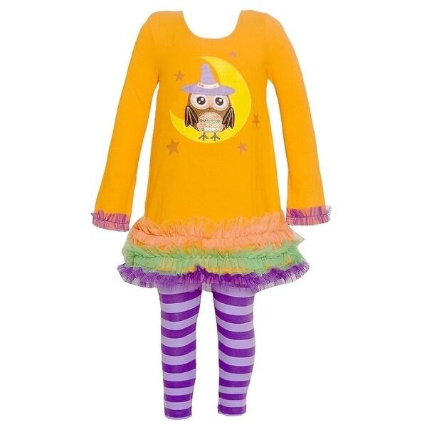 Bonnie Jean Baby Girls Orange Owl Moon Print Halloween 2 Pc Pant Set