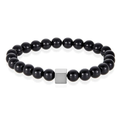 Natural Stone with Hematite Cube Beaded Stretch Bracelet (8mm)