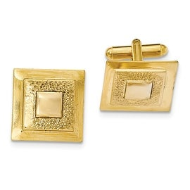 Goldtone Polished Textured Square Cuff Links