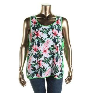Vince Camuto Womens Floral Print Contrast Trim Tank Top - L