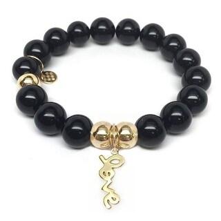 Julieta Jewelry Love Charm Black Onyx Bracelet