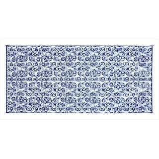Camco 42841 8 x 16 Ft. Reversible Outdoor Mat-Blue Swirl