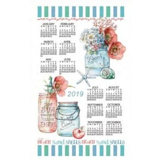 Beach House Floral Towel Calendar, Kitchen Towel by Kay Dee Designs