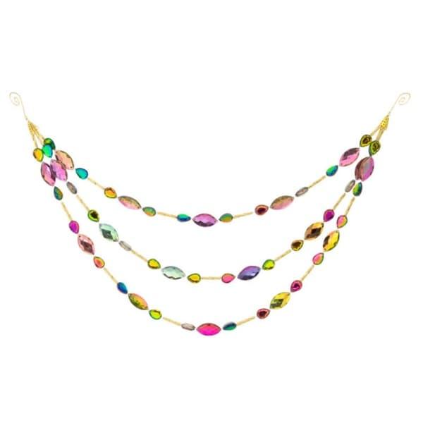 "Pack of 6 Shiny Multi-Color Beaded Jewel Three Tier Drape Christmas Garland 14"""