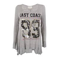 Belle du Jour Juniors' East Coast Metallic Print Tunic Top - Heather Grey