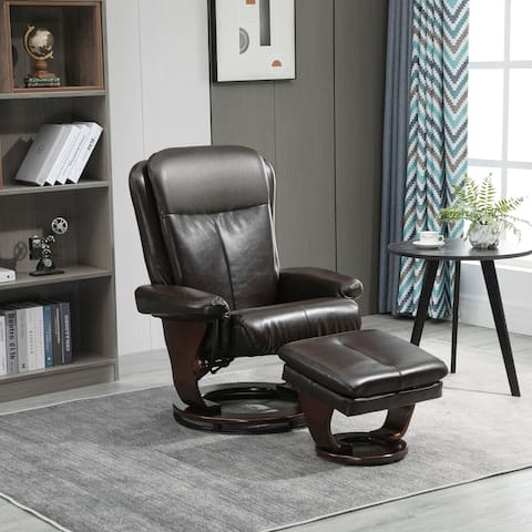 HOMCOM 2 Piece Faux Leather Swivel Recliner and Ottoman Set with Reclining Backrest