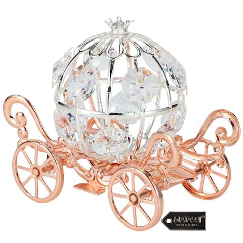 Matashi Rose Gold Crystal Studded Small Cinderella Pumpkin Coach Ornament Gift