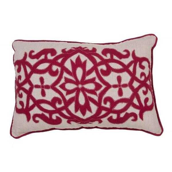 "16"" x 24"" Burnt Red and Sahara Tan Linen Floral Pattern Indoor Decorative Throw Pillow"