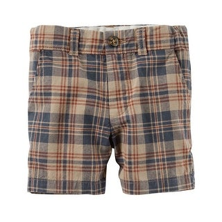 Carter's Baby Boys' Plaid Flat-Front Shorts, 12 Months - Brown