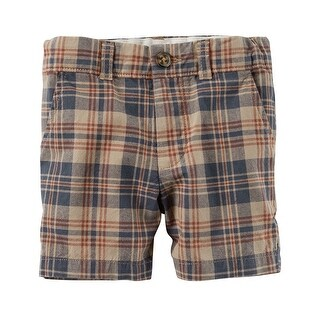Carter's Little Boys' Plaid Flat-Front Shorts, 5-Toddler - Brown