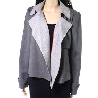 Tommy Hilfiger NEW Gray Womens Size 14 Two-Toned Open-Front Jacket