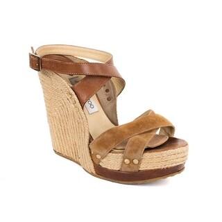 Jimmy Choo Brown Leather Strap Jute Sole Wedge Heels