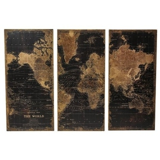 Aspire Home Accents 1434 Stanford World Map Wall Decor (Set of 3) - N/A